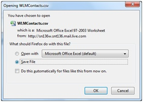 live mail how to add contact from saved file